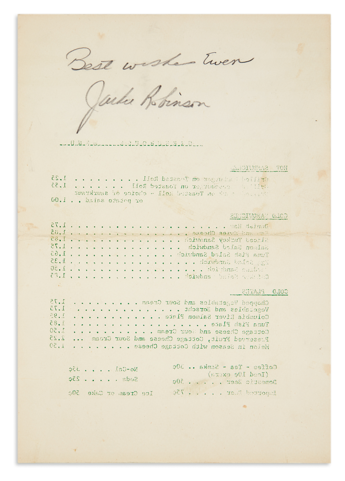 ROBINSON-JACKIE-Autograph-inscription-Signed-Best-wishes-Ewe