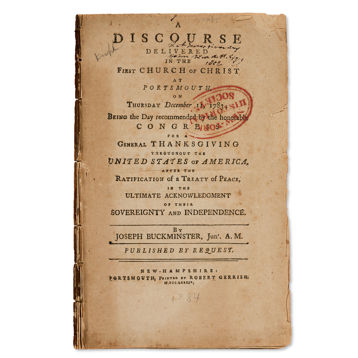 (AMERICAN-REVOLUTION--1783)-Joseph-Buckminster-A-Discourse-D