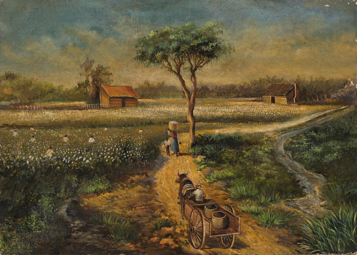 WILLIAM AIKEN WALKER Farm Scene with Cotton Fields.