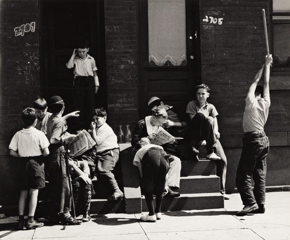 PETER SEKAER (1901-1950) Sunday morning, boys on stoop, Morris Avenue, Philadelphia.