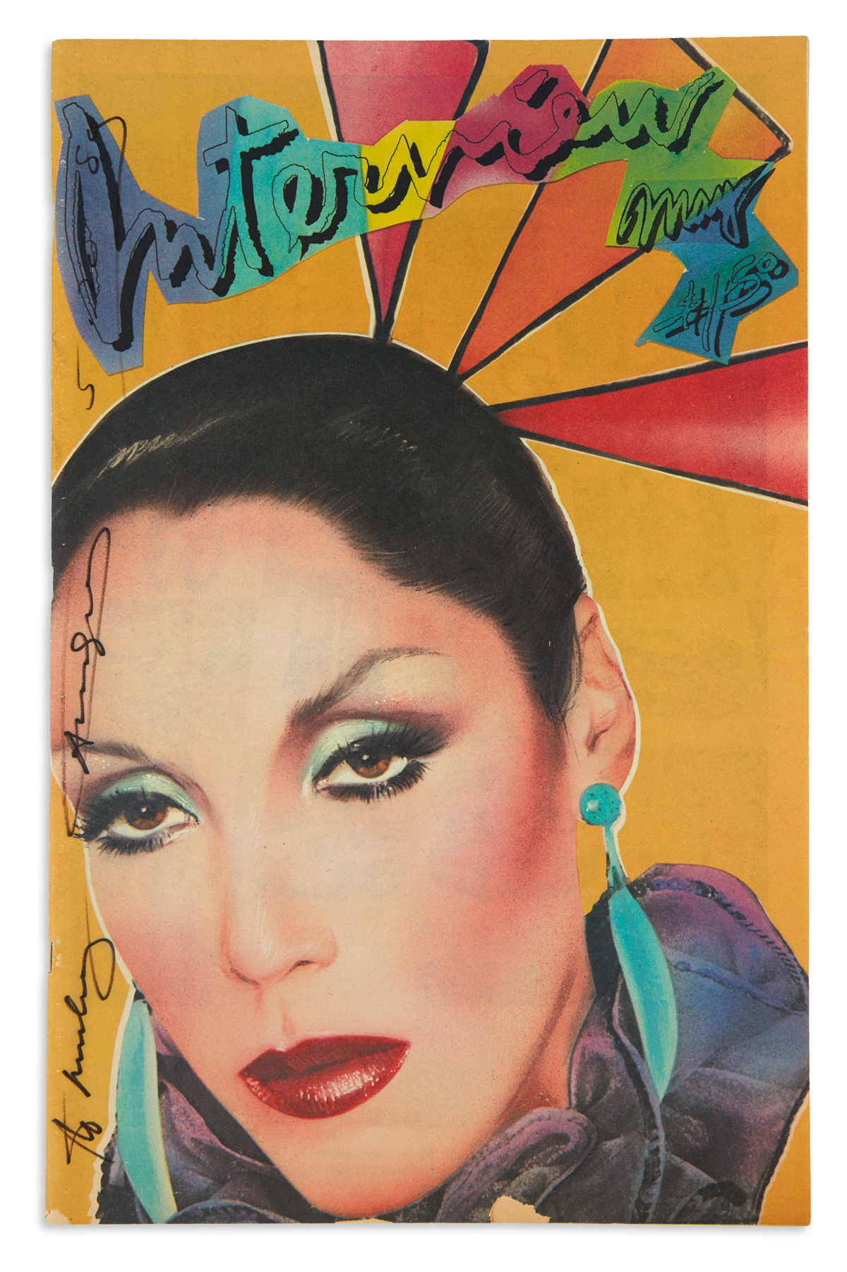 WARHOL, ANDY. Two complete issues of Interview magazine, each Signed and Inscribed to Mickey Tinter (To Mickey).