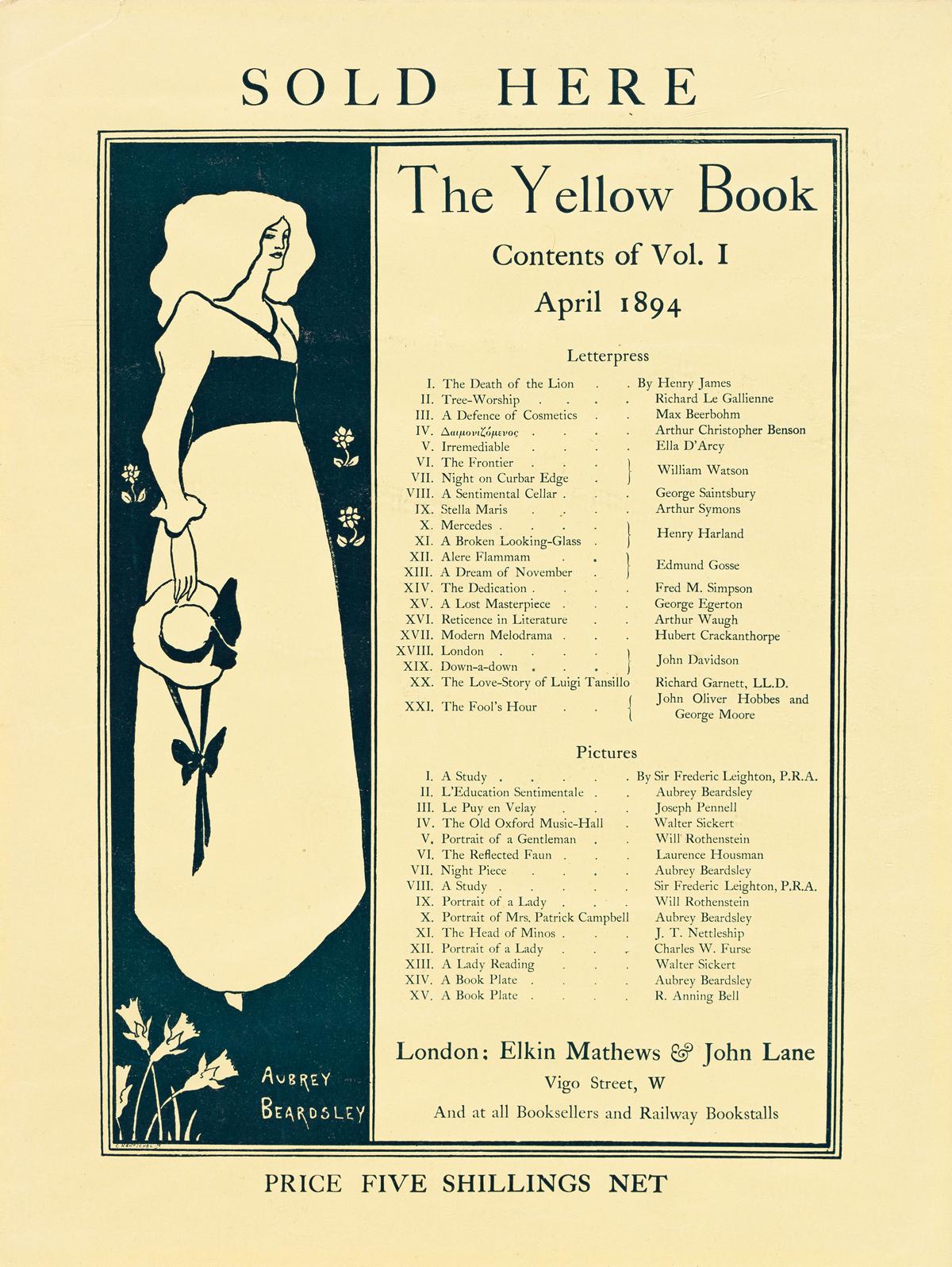 AUBREY BEARDSLEY (1872-1898).  THE YELLOW BOOK. 1894. 15x11 inches, 39x29 cm.