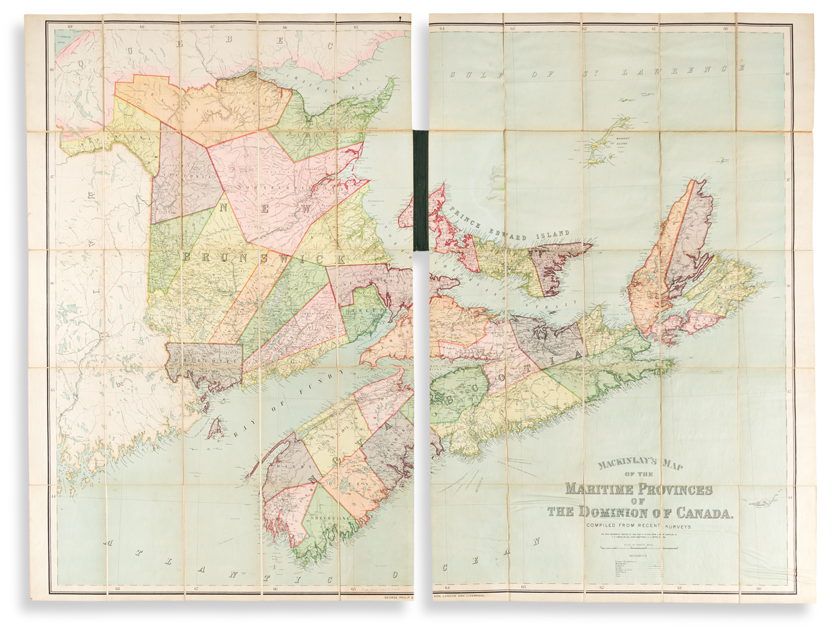 (CANADA.) George Philip & Son; after A.& W. Mackinlay. Mackinlays Map of the Maritime Provinces of the Dominion of Canada.
