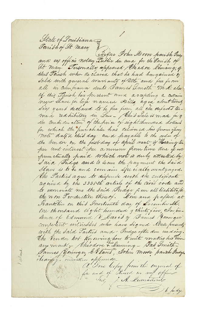 (SLAVERY AND ABOLITION.) LOUISIANA. Three legal documents: Two official bills of sale for slaves; another for 25 slaves as collateral f