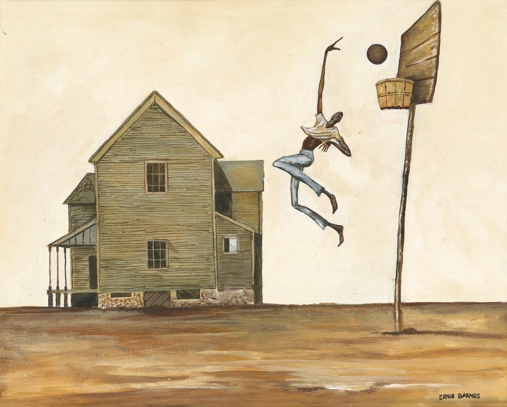 ERNIE BARNES (1938 - 2009) Untitled (The Hook Shot).