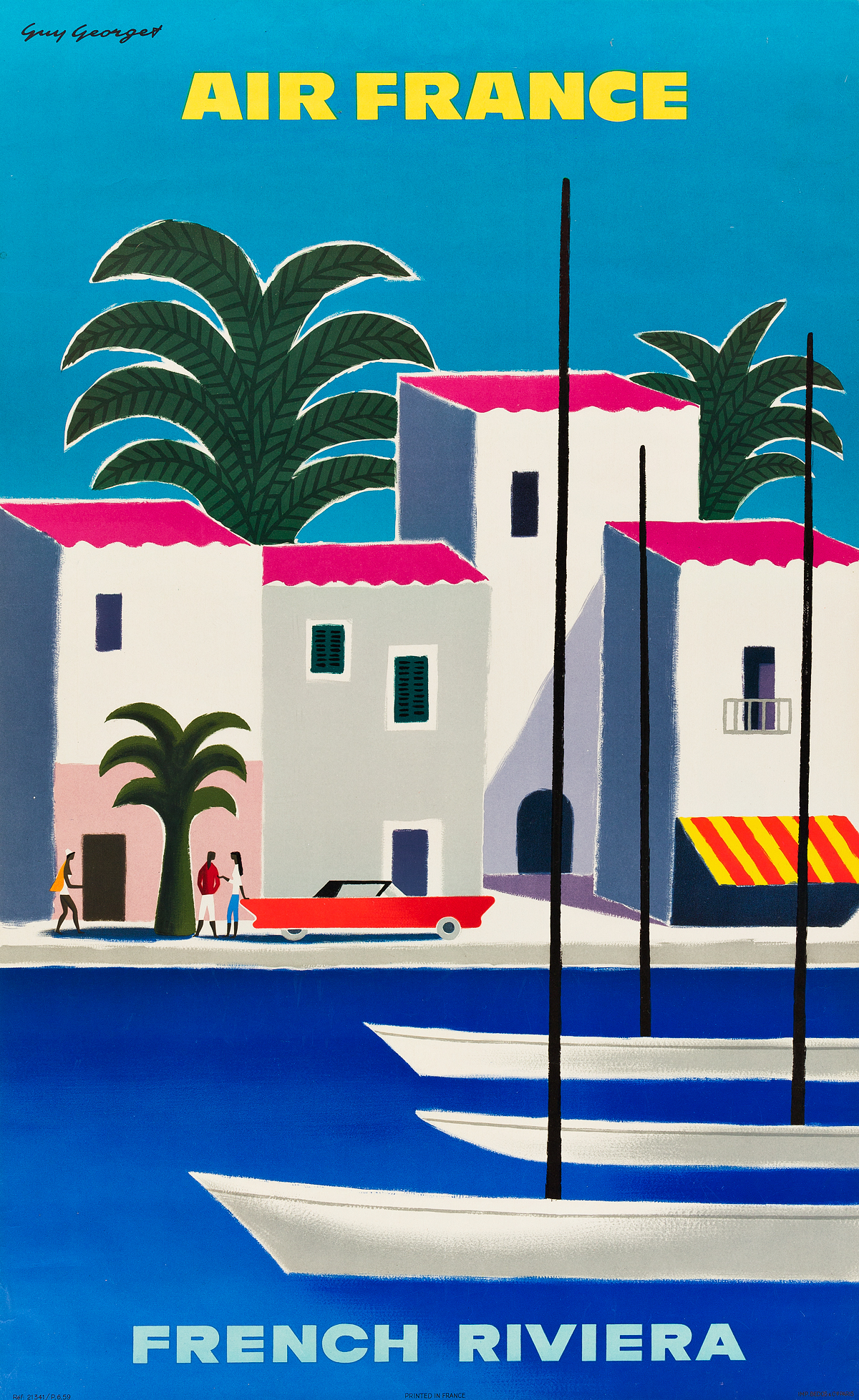 GUY GEORGET (1911-1992). FRENCH RIVERIA / AIR FRANCE. 1963. 39x24 inches, 99x61 cm. Bedos & Cie., Paris.