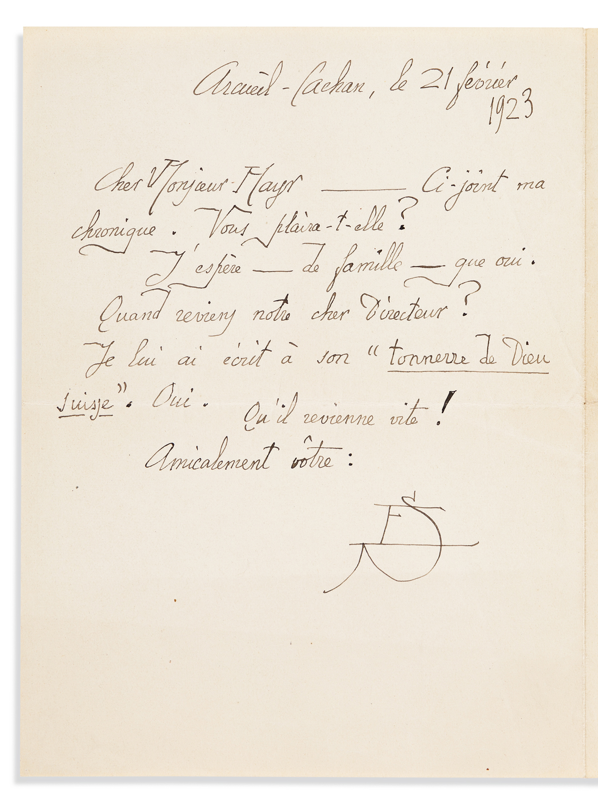 SATIE, ERIK. Autograph Letter Signed, with his monogram (ES), to editor of Les Feuilles libres Wieland Mayr (Dear Mr. Mayr), in Fre