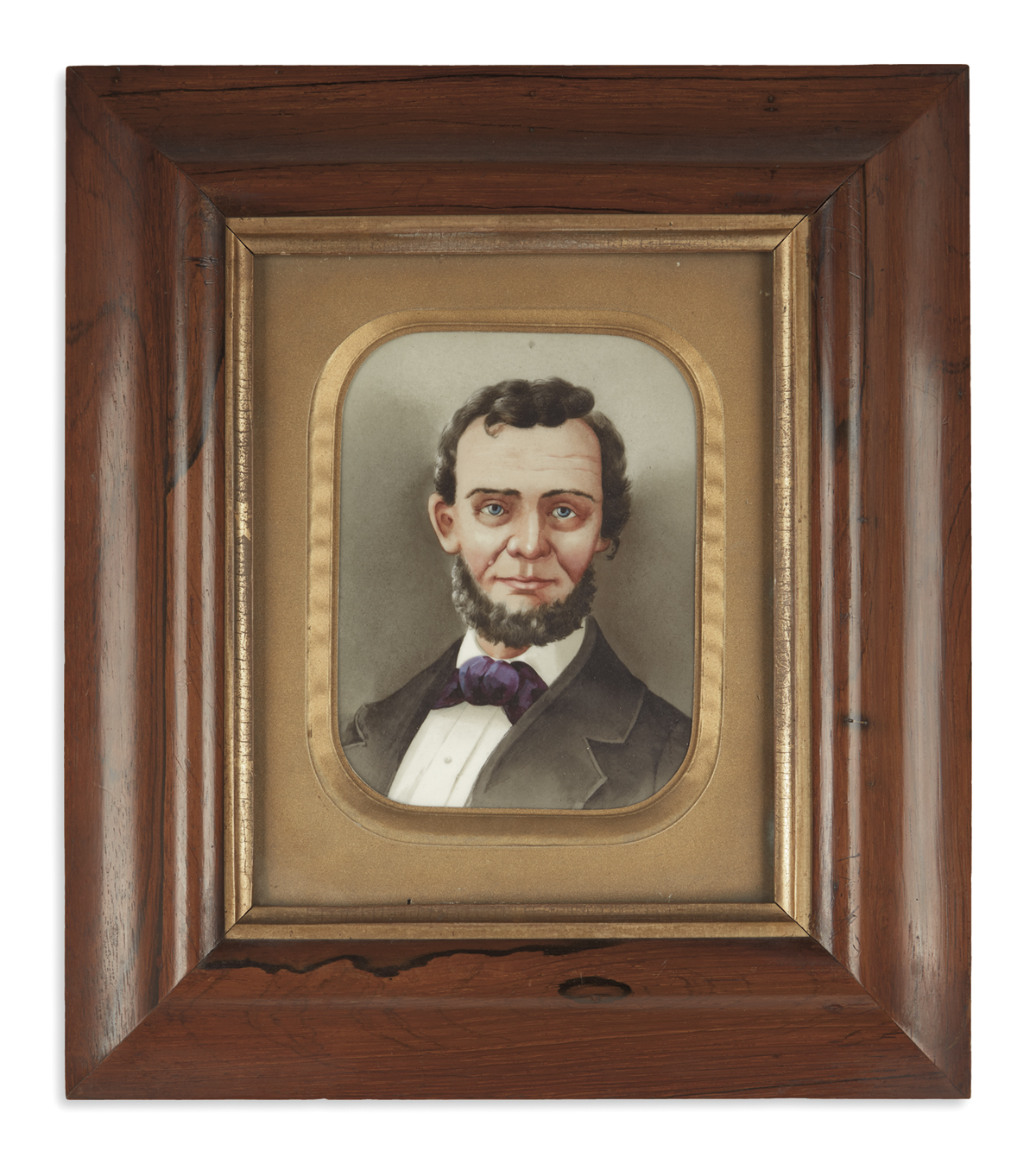 (PAINTINGS)-Unsigned-portrait-of-Lincoln-on-glass
