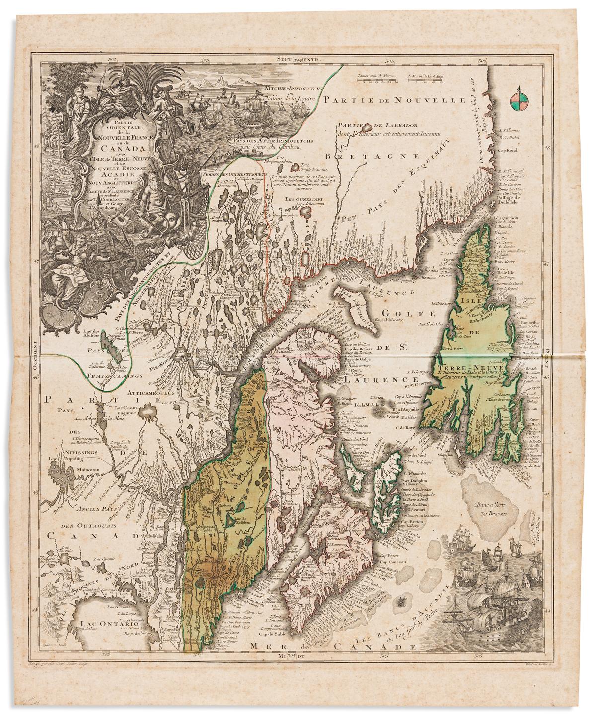 (CANADA.) Lotter, Tobias Conrad. Partie Orientale de la Nouvelle France ou du Canada.