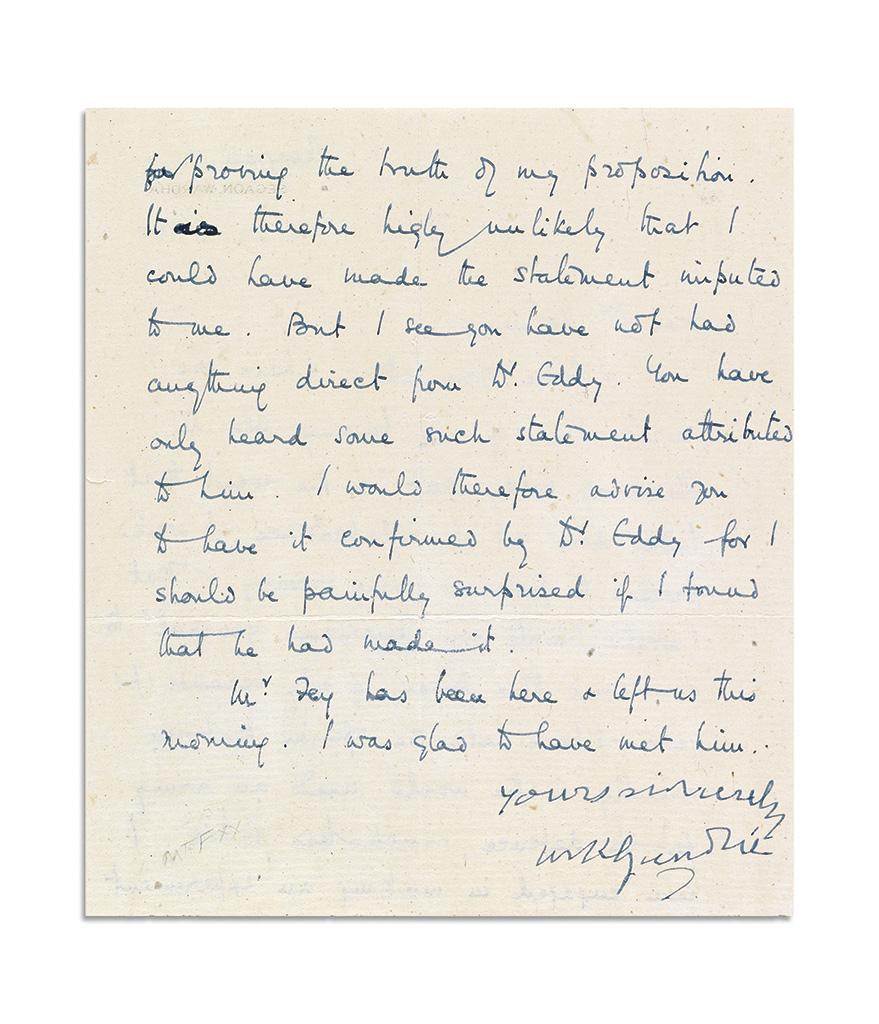 GANDHI, MOHANDAS K. Letter Signed, yours sincerely / MKGandhi, to Dr. John Haynes Holmes (Dear Dr. Holmes), in English,