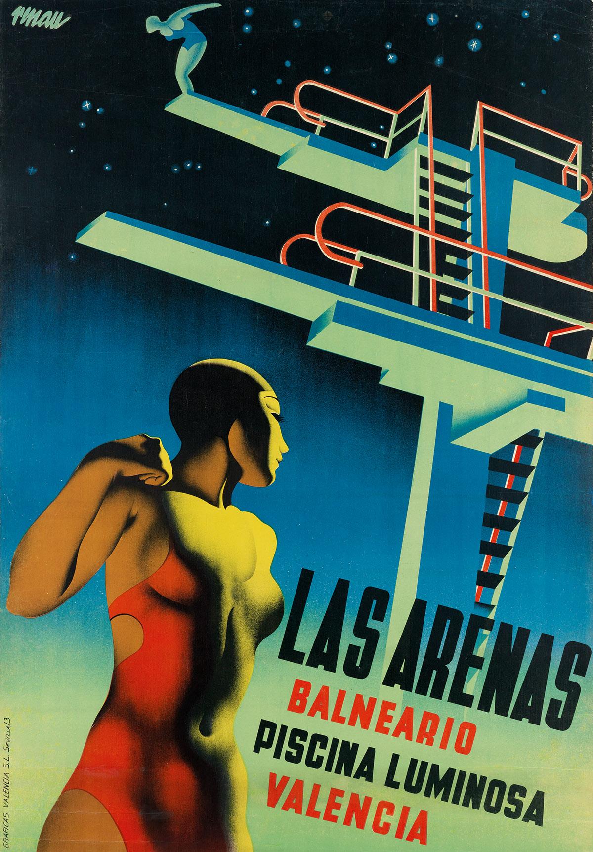 JOSEP RENAU MONTORO (1907-1982). LAS ARENAS BALNEARIO PISCINA LUMINOSA. 1932. 39x27 inches, 99x68 cm. Graficas Valencia, Sevilla.