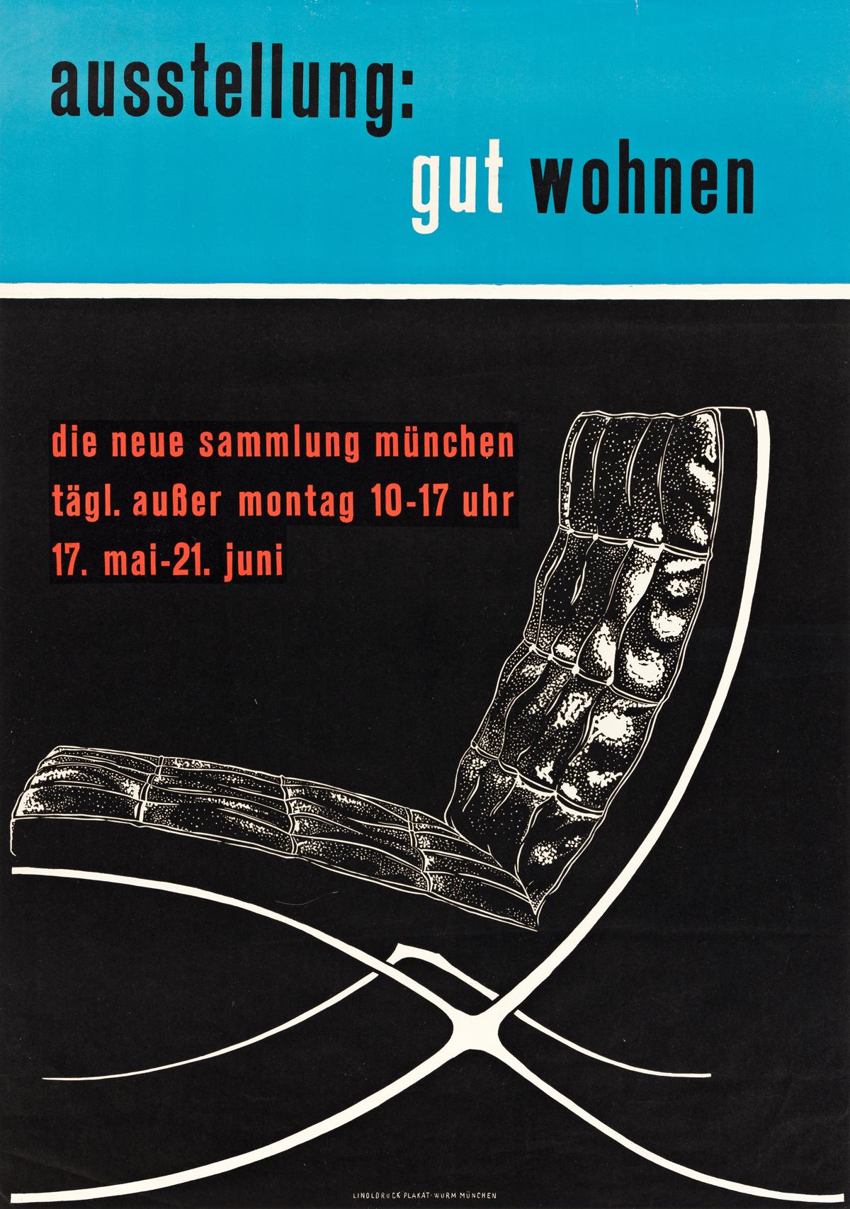 DESIGNER UNKNOWN.  AUSSTELLUNG: GUT WOHNEN. Circa 1955. 32½x23 inches, 82½x38½ cm. Linoldruck Plakat-Wurm, Munich.
