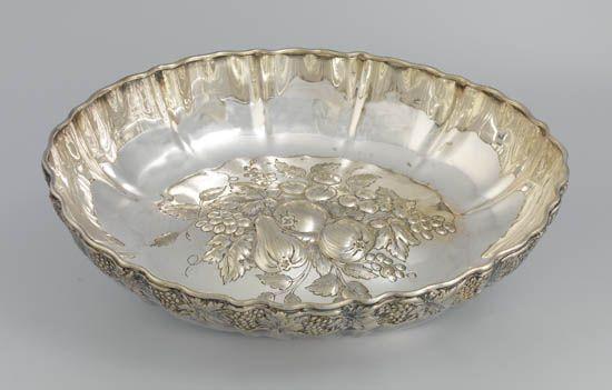 (RED STAR LINE.) Silver repoussé fruit serving bowl by Elkington,
