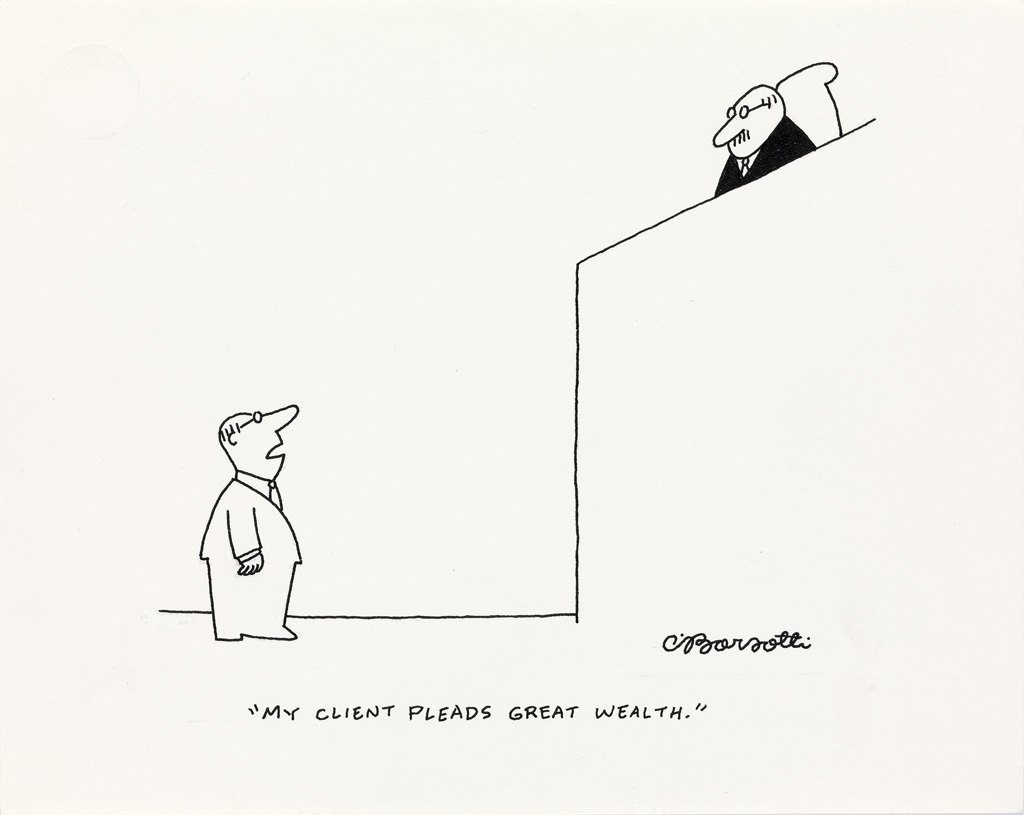 (THE-NEW-YORKER--CARTOON)-CHARLES-BARSOTTI-My-client-pleads-