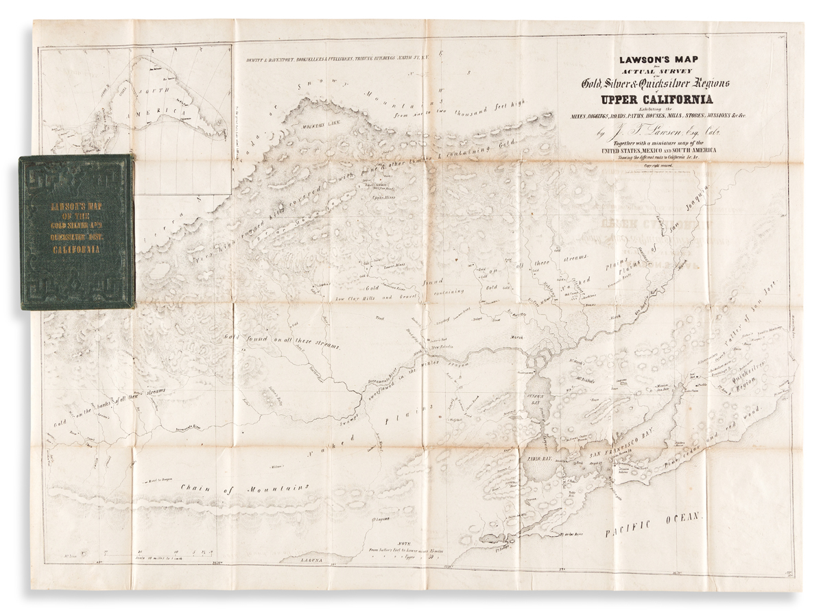 (CALIFORNIA -- GOLD REGIONS.) John T. Lawson. Lawsons Map from Actual Survey of the Gold, Silver & Quicksilver Regions
