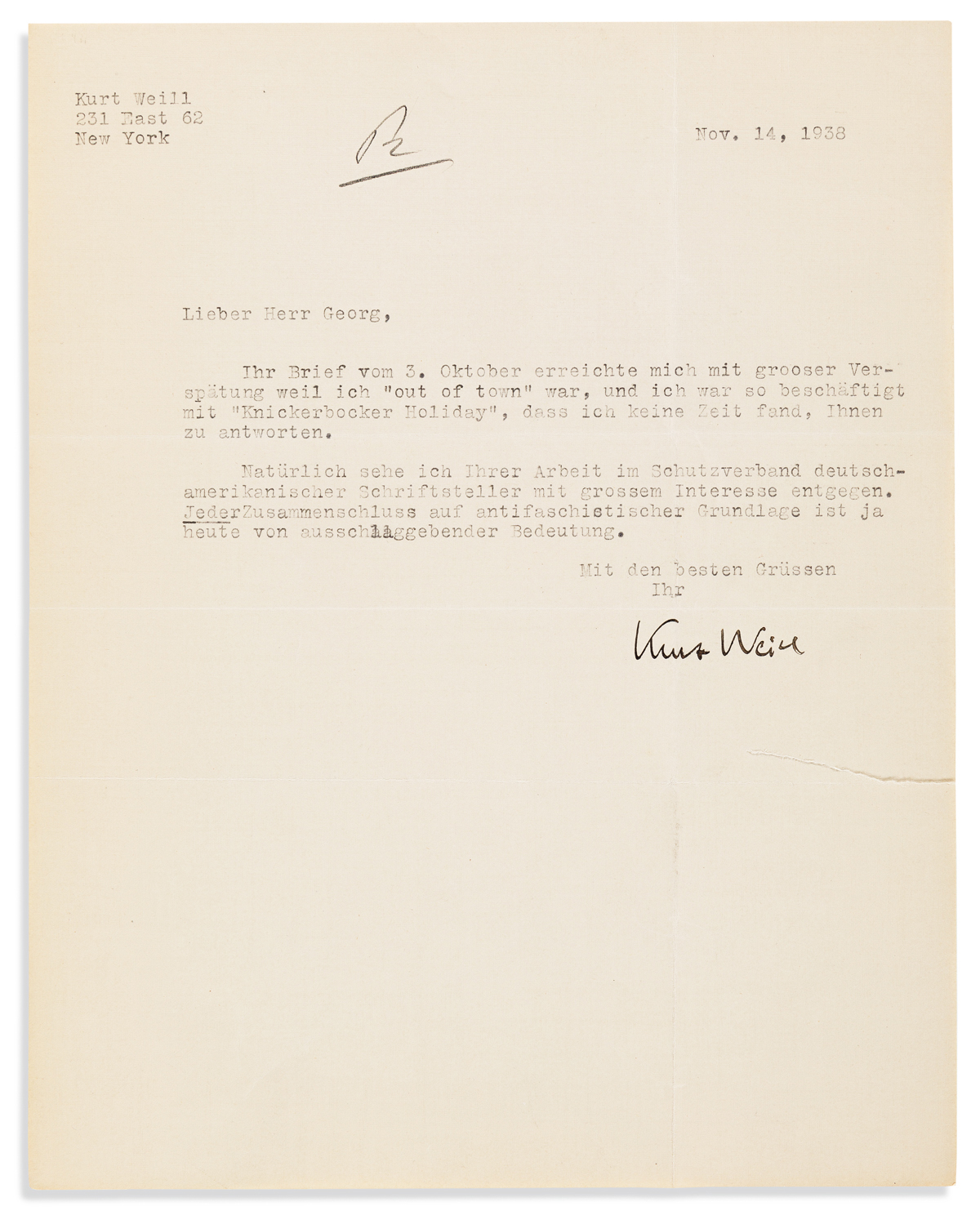 WEILL, KURT. Group of 6 Typed Letters Signed, to literary agent Kurt Hellmer or Herr Georg,