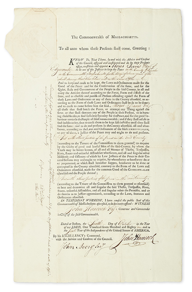 (AMERICAN REVOLUTION.) HANCOCK, JOHN. Partly-printed Document Signed, as Governor of Massachusetts, appointing Moses Davis