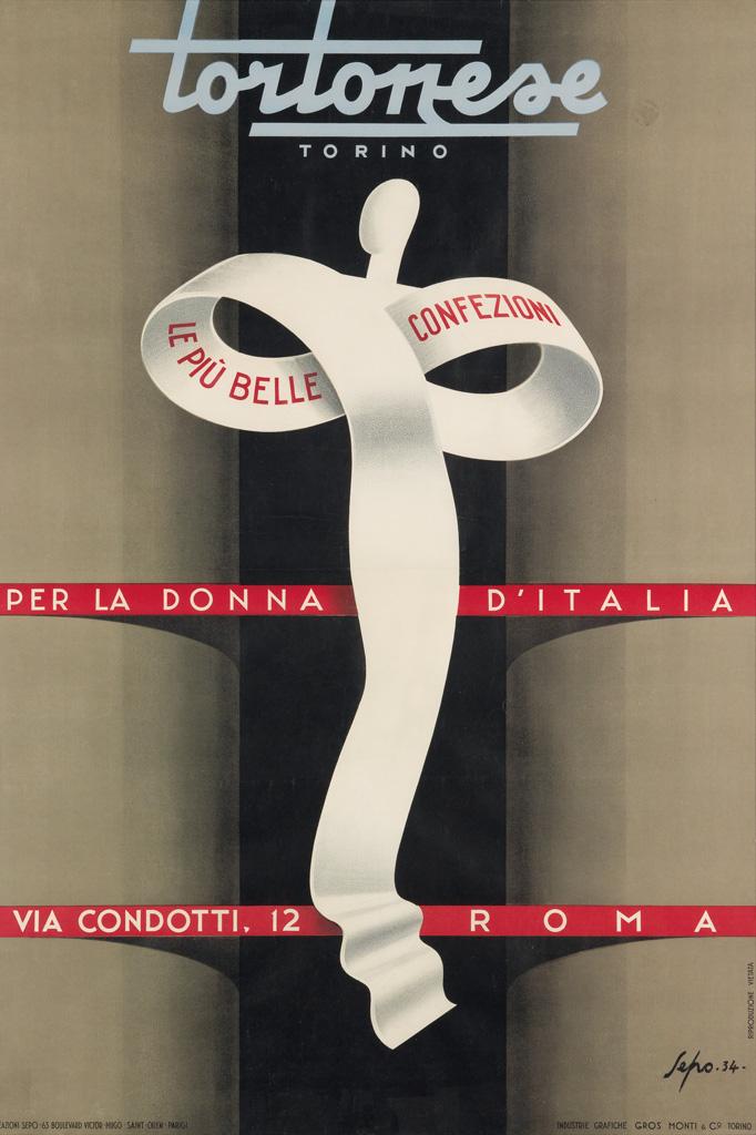 SEPO (SEVERO POZZATI, 1895-1983). TORTONESE. 1935. 52x35 inches, 137x89 cm. Gros Monti & Co, Torino.