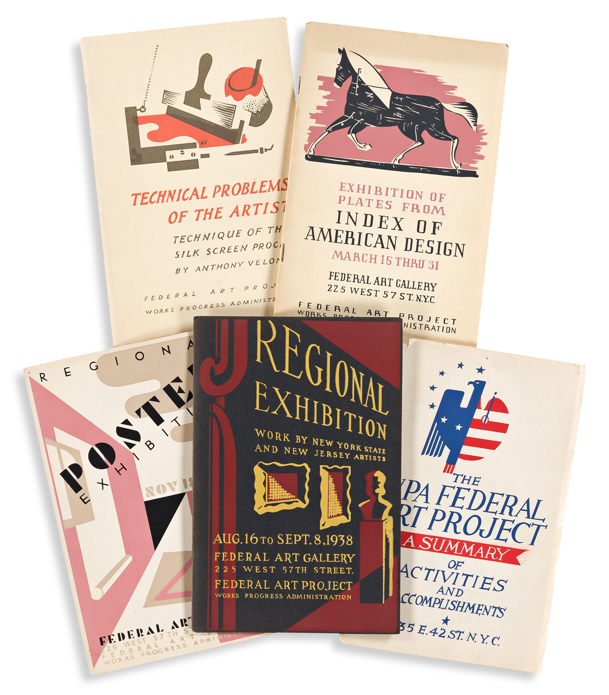 VARIOUS ARTISTS.  [WPA ARTISTS & EXHIBITIONS.] Group of 12 booklets and catalogues. 1930s. Each approximately 9x5¾ inches, 22¾x14½ cm.