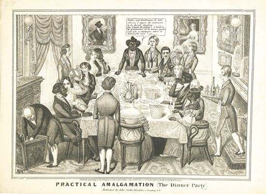 (SLAVERY AND ABOLITION--RACIST HUMOR.) CHILDS, JOHN. Practical Amalgamation. Five stipple engravings by Edward Williams Clay, the autho