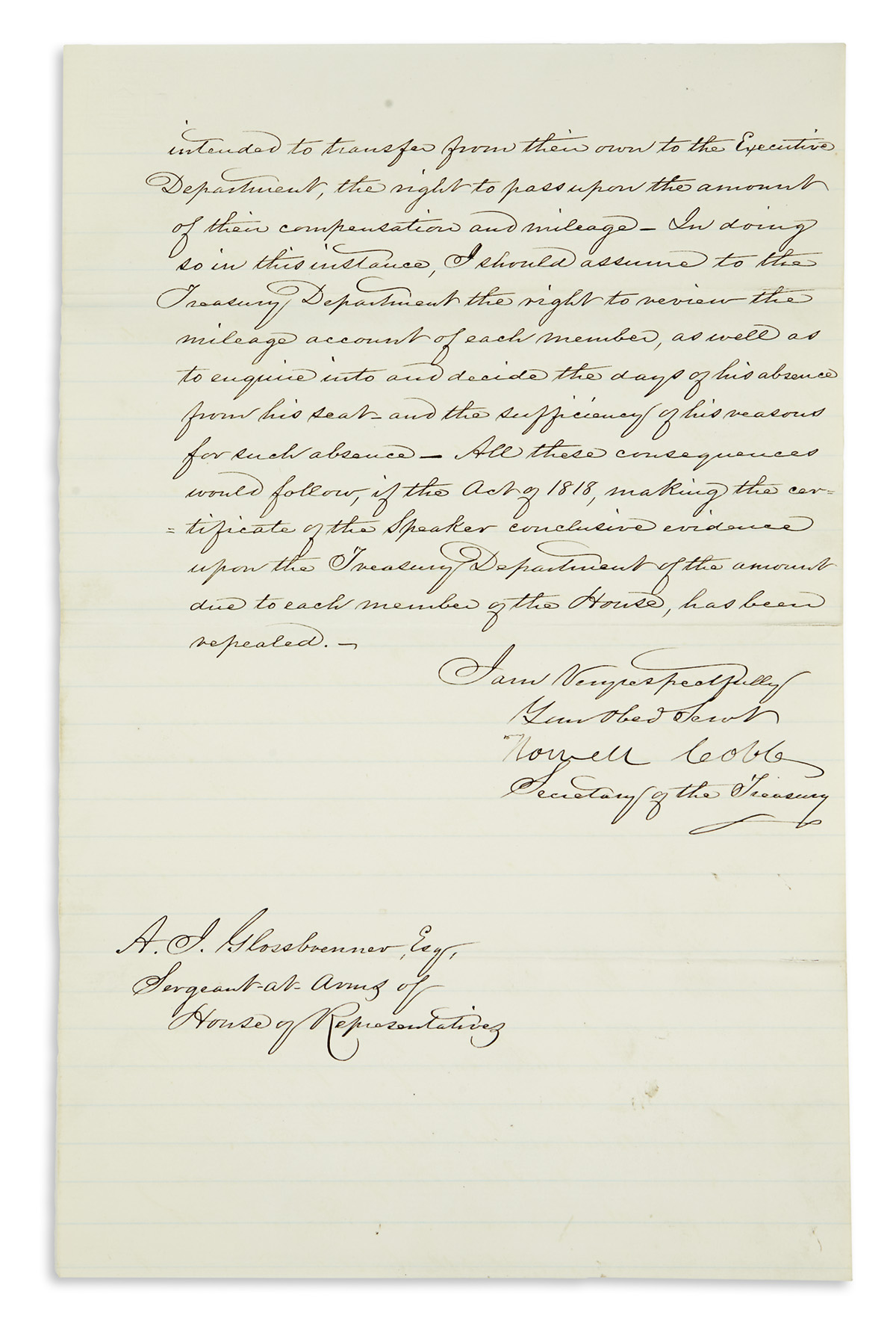 COBB-HOWELL-Letter-Signed-as-Secretary-of-the-Treasury-to-Se