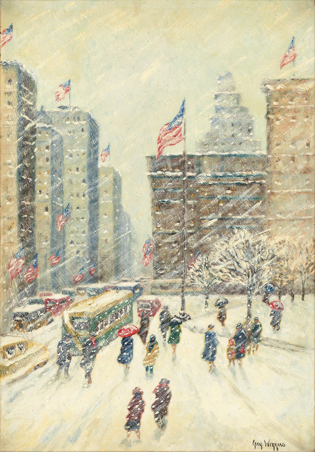 GUY-WIGGINS-Fifth-Avenue-New-York-in-Snow