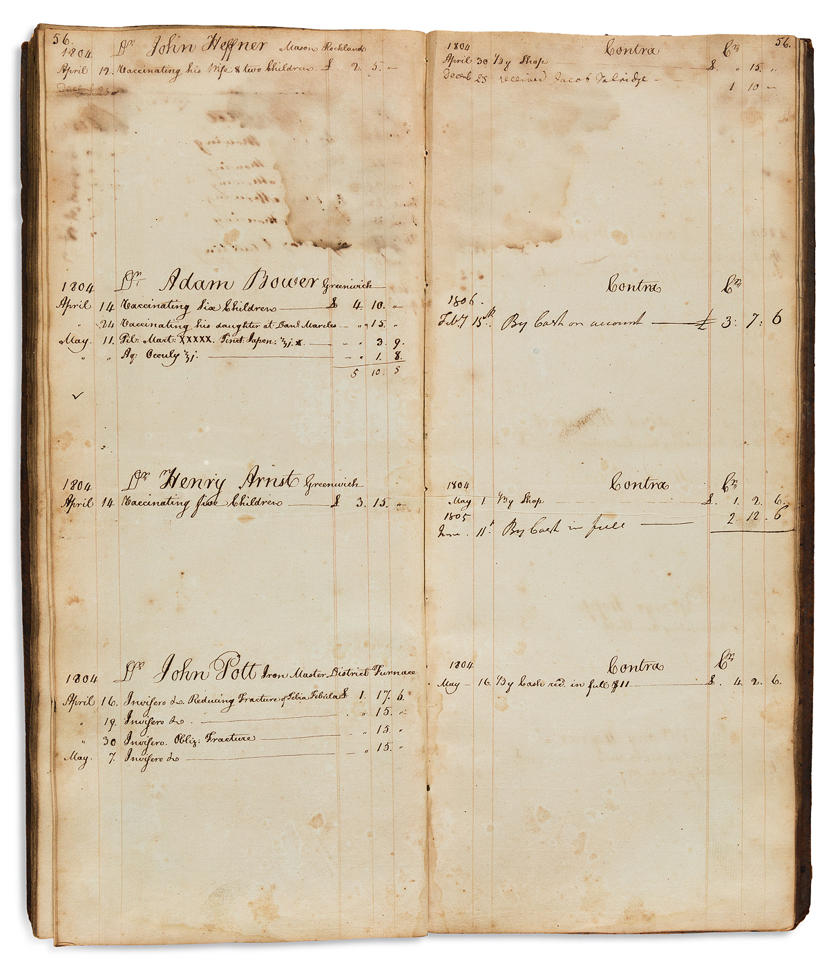 Medical Manuscript on Paper. Ledger of an early Pennsylvania physician specializing in vaccination.