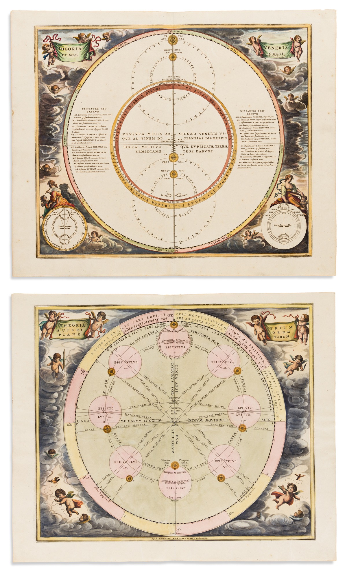 (CELESTIAL.) Cellarius, Andreas. 2 double-page engraved celestial charts.