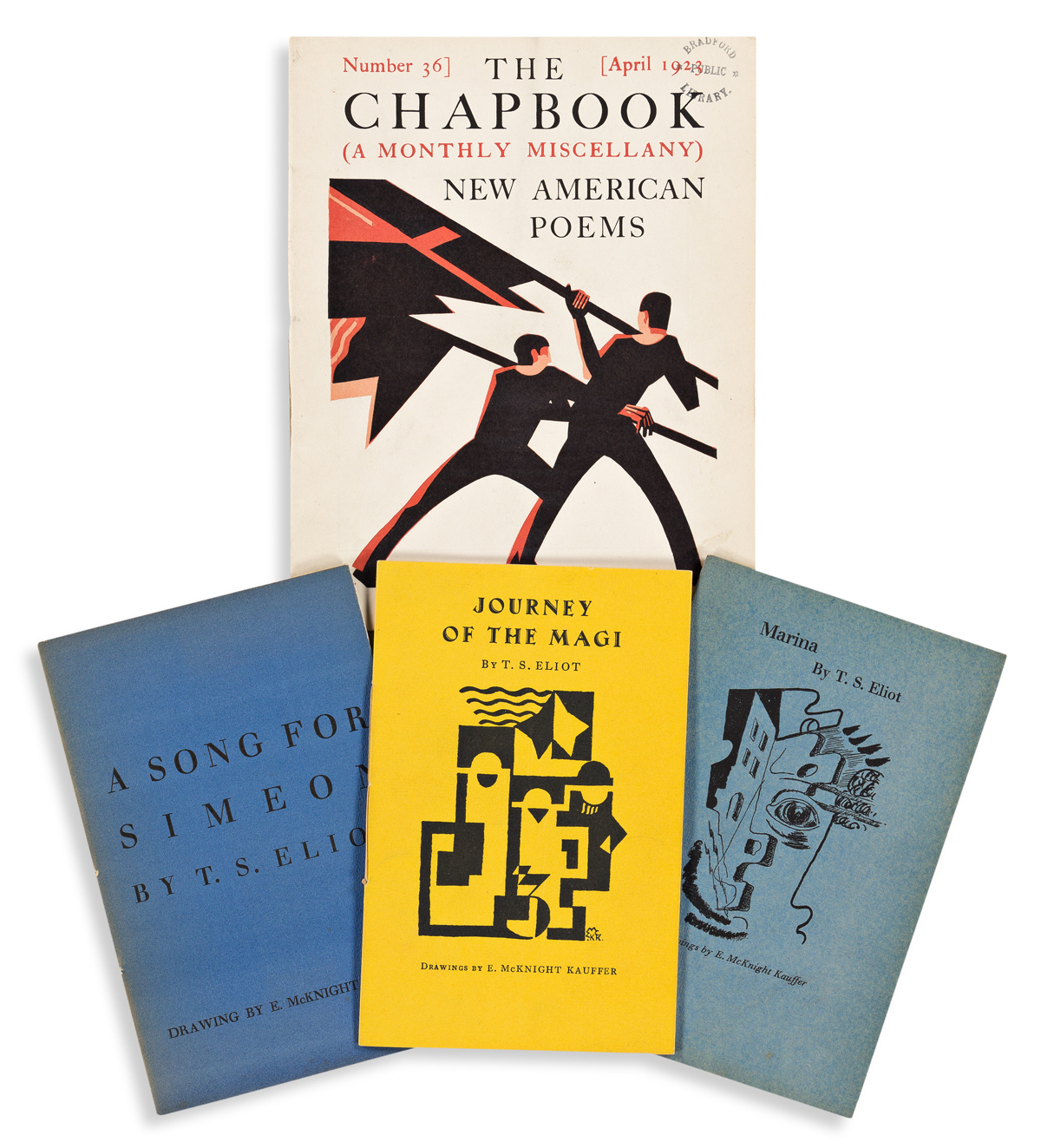 EDWARD MCKNIGHT KAUFFER (1890-1954).  [POETRY / T.S. ELIOT / THE CHAPBOOK.] Group of 4 booklets. Sizes vary.