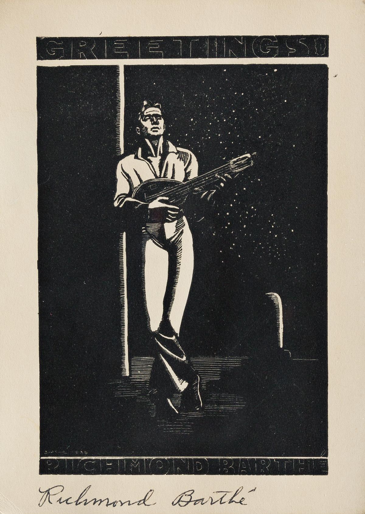 RICHMOND-BARTHÉ-(1909---1989)-Untitled-(Man-Playing-a-Mandol