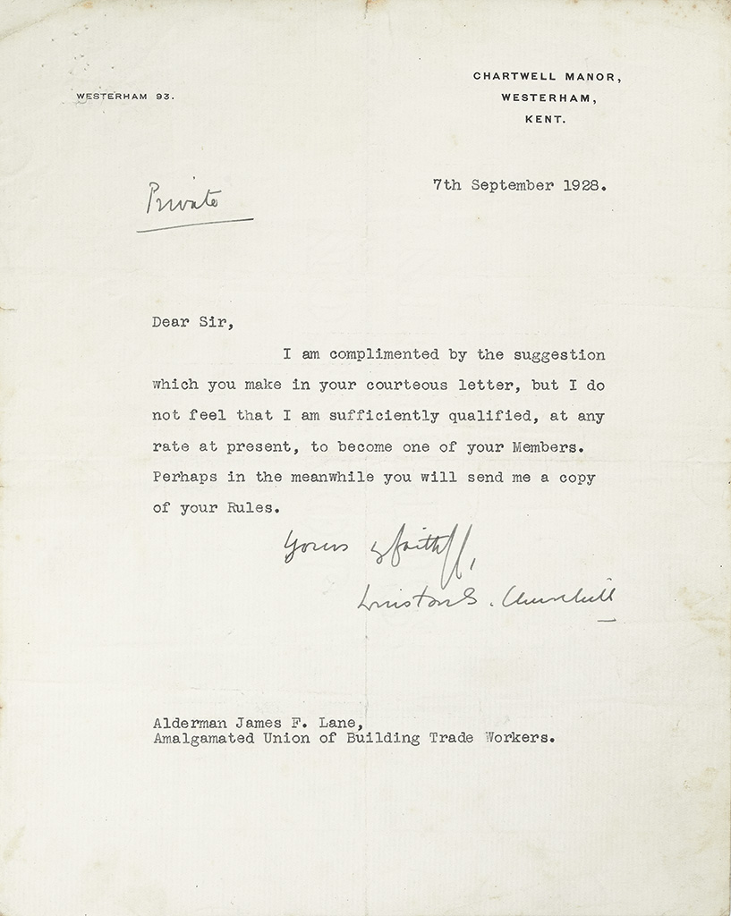 CHURCHILL, WINSTON S. Archive of items relating to his membership in a British trade union, including 5 items Signed: 3 Typed Letters,