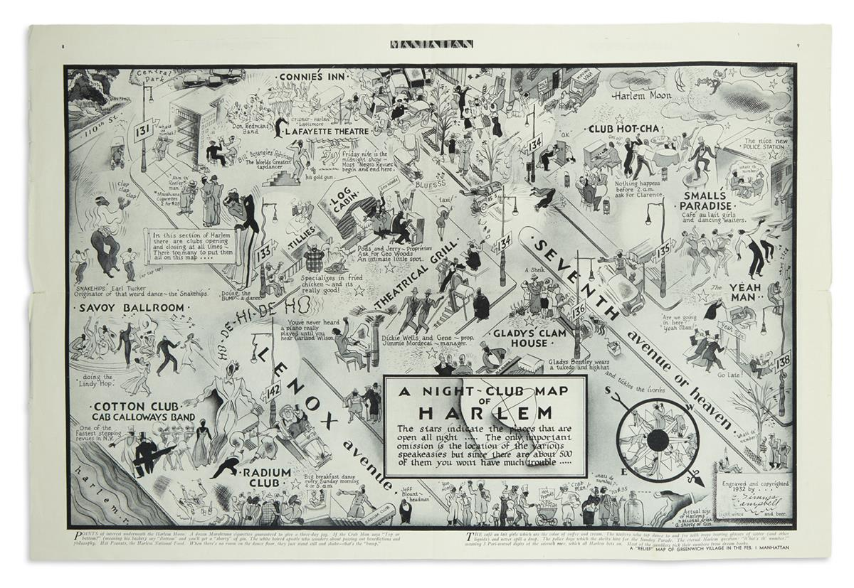 (MUSIC.) Campbell, E. Simms; artist. A Night-Club Map of Harlem,