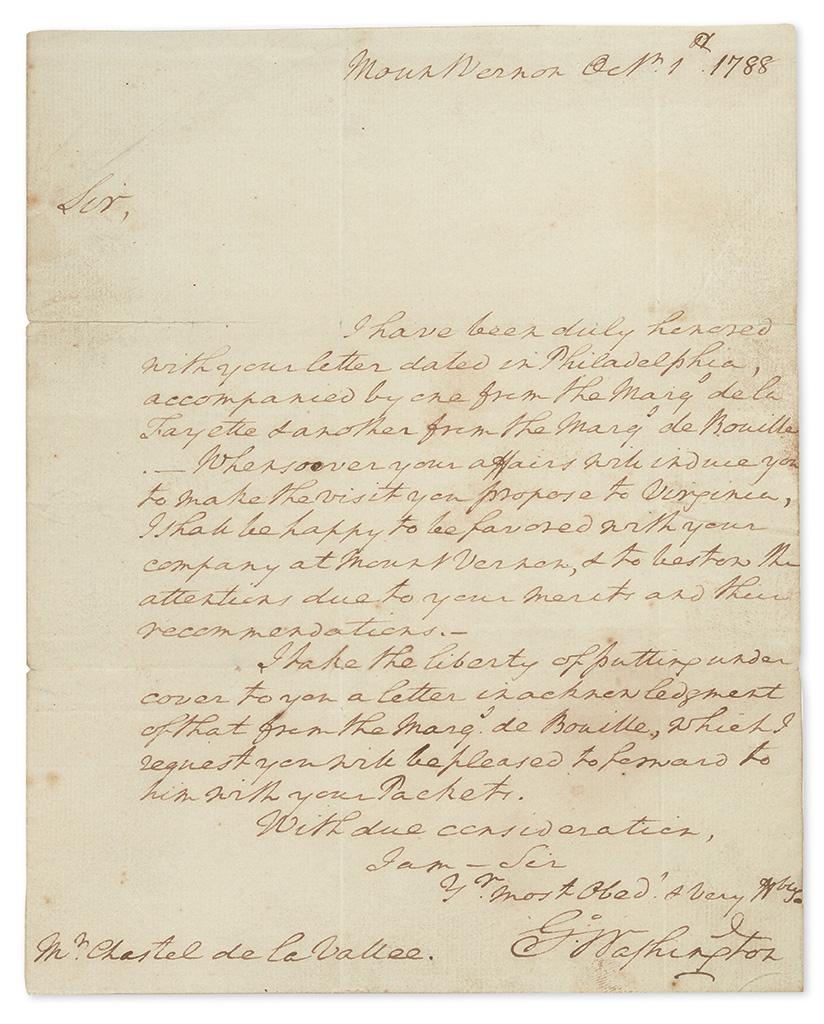 WASHINGTON, GEORGE. Autograph Letter Signed, to Chastel de la Vallée,