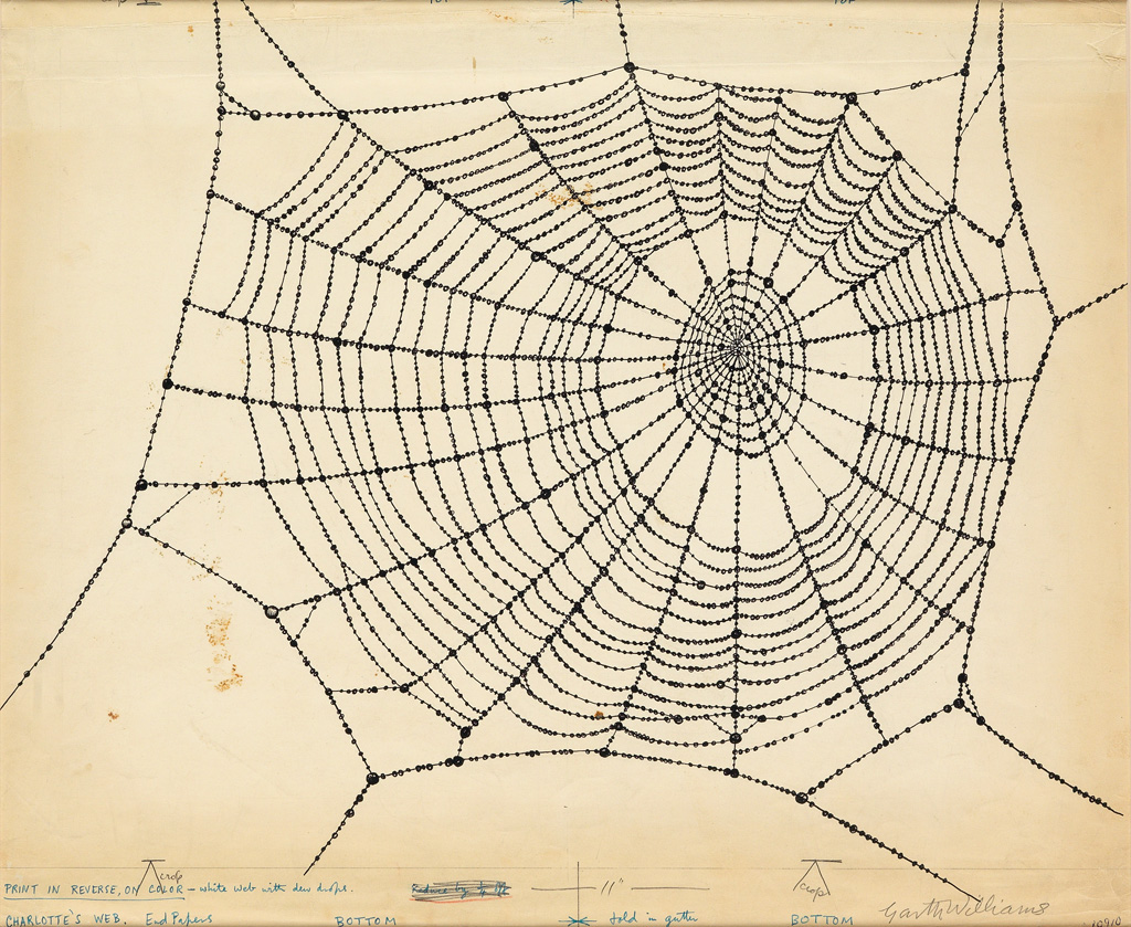GARTH WILLIAMS. Endpaper drawing for Charlottes Web.