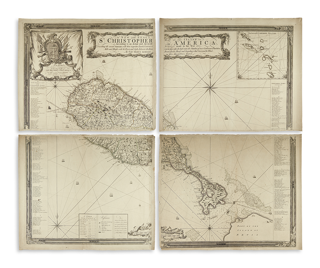 BAKER, SAMUEL. A New and Exact Map of the Island of St. Christopher in America, According to an Actual and Accurate Survey