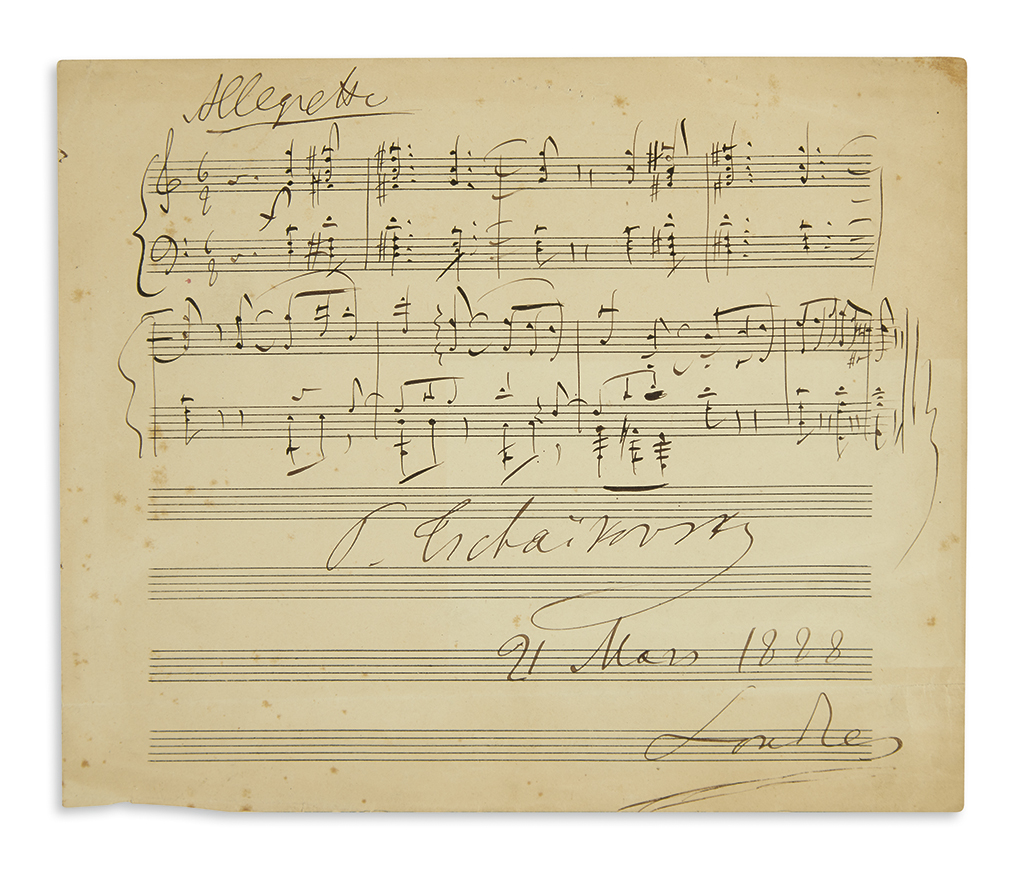 TCHAIKOVSKY, PYOTR ILYICH. Autograph Musical Quotation dated and Signed, P. Tschaikovsky, 9 bars from the first movement of his Seren