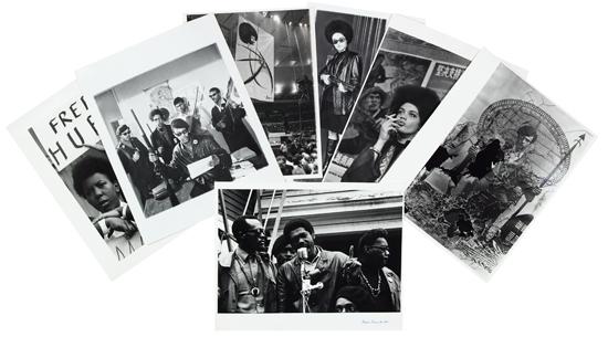 (BLACK PANTHERS.) SHAMES, STEPHEN ET AL. Group of seven gelatin silver print photographs of the Black Panthers.