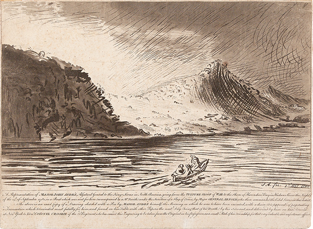 (AMERICAN REVOLUTION--1780.) André, John; artist. A Representation of Major John André . . . going from the Vulture Sloop of War