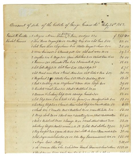 (SLAVERY AND ABOLITION.) Manuscript document signed by the executors and the town clerk. Account of the Sale of the Estate of George Gr