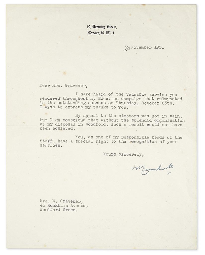 CHURCHILL, WINSTON S. Typed Letter Signed, WSChurchill, as Prime Minister, to Dear Mrs. Gravener,