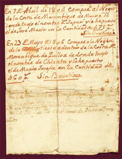 (SLAVERY AND ABOLITION.) COLONIAL SPAIN. Manuscript document recording several purchases of slaves in Mozambique.
