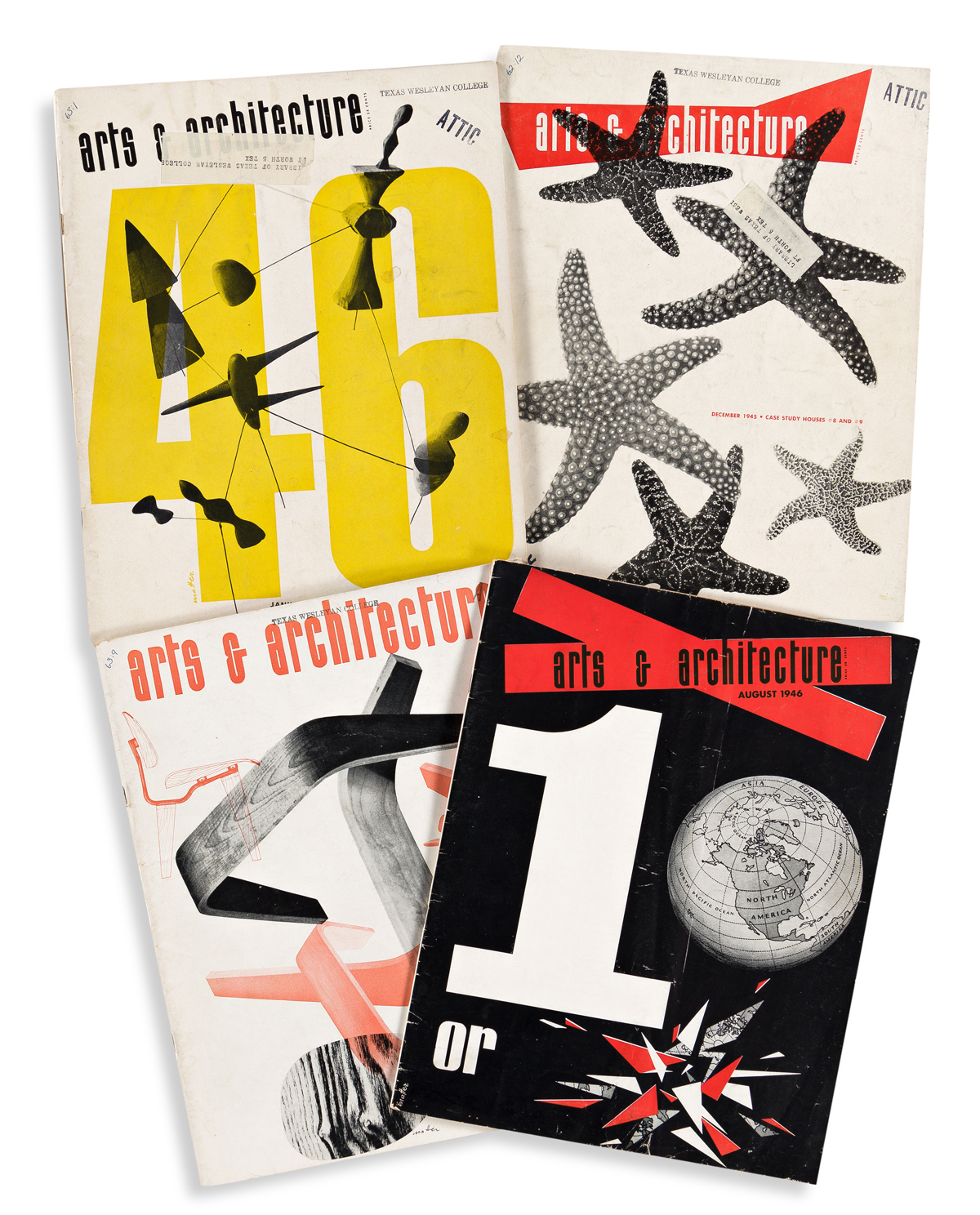 HERBERT MATTER (1907-1984).  ARTS & ARCHITECTURE. Group of 12 magazine issues. 1940-1946. Each 13x10 inches, 33x25½ cm.