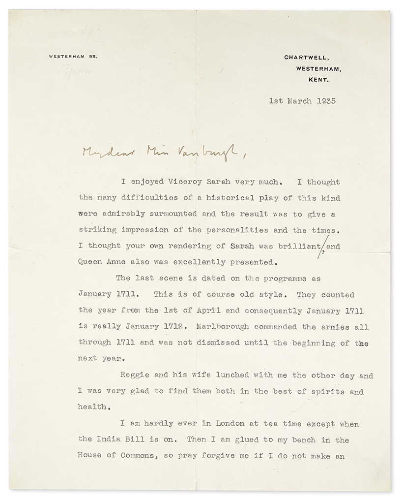 CHURCHILL, WINSTON S. Typed Letter Signed, with holograph salutation and closing, to actress Irene Vanbrugh (My dear Miss Vanbrugh),