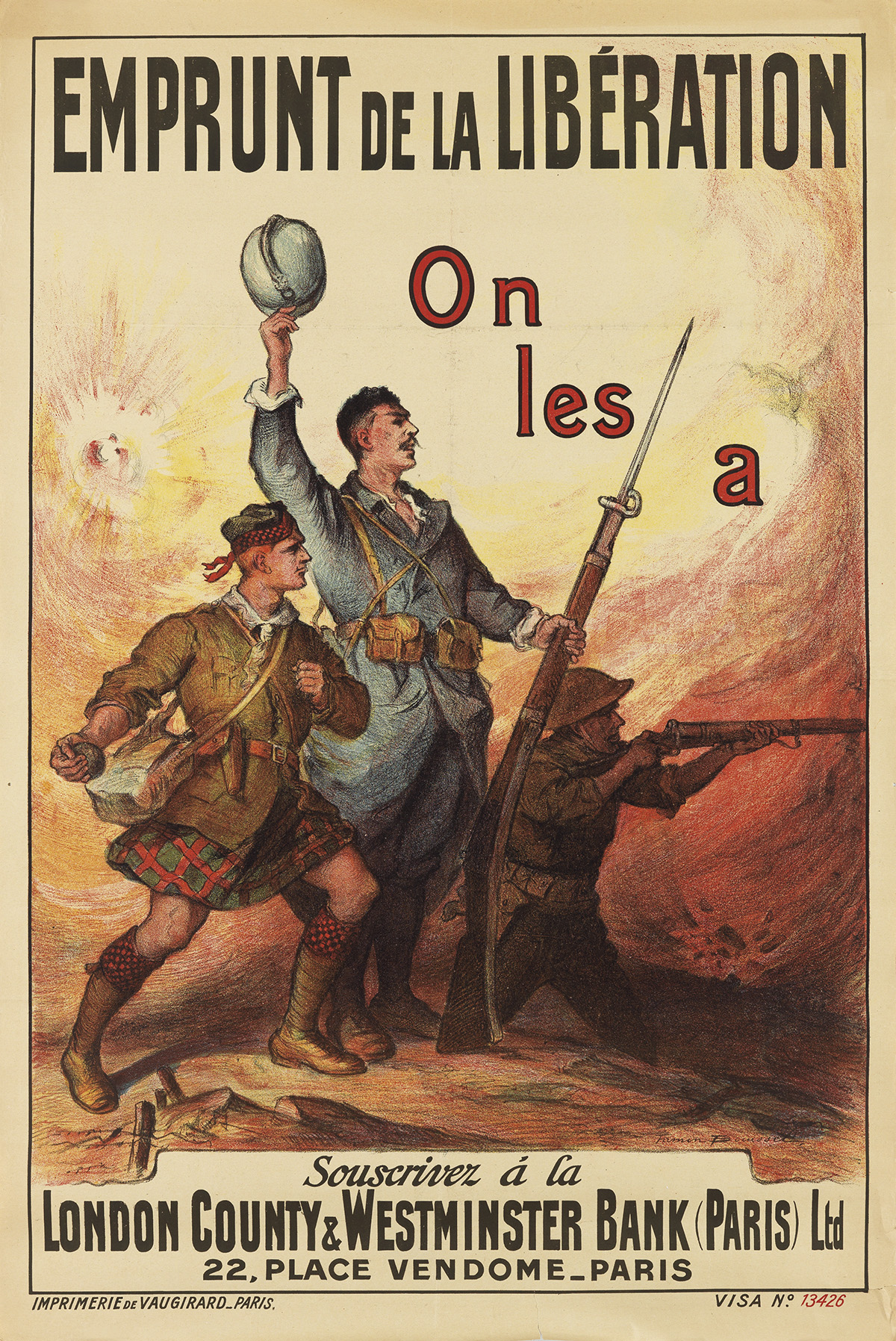 FIRMIN BOUISSET (1859-1925). EMPRUNT DE LA LIBÉRATION / ON LES A. Circa 1918. 46x31 inches, 118x79 cm. Vaugirard, Paris.
