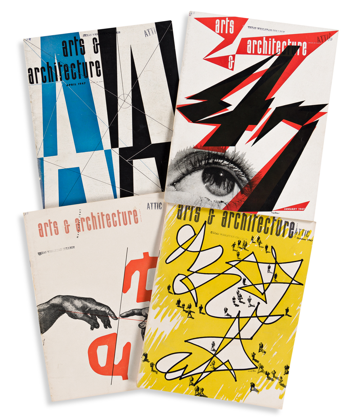 HERBERT MATTER (1907-1984).  ARTS & ARCHITECTURE. Group of 9 magazine issues. 1947-1948. Each 13x10 inches, 33x25½ cm.