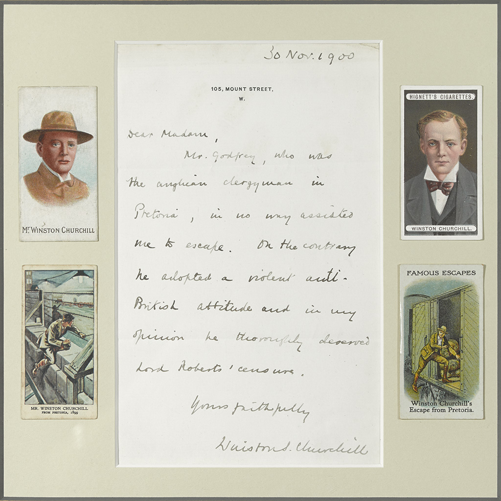 CHURCHILL, WINSTON S. Autograph Letter Signed, to Ada Hacquoil (Dear Madam),
