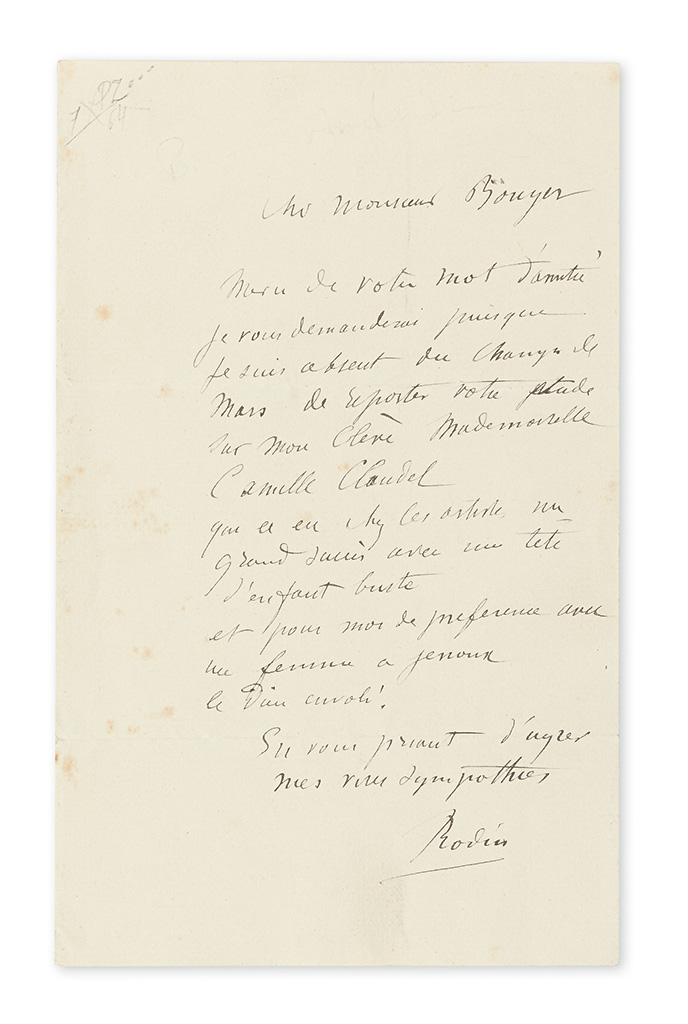 RODIN, AUGUSTE. Autograph Letter Signed, Rodin, to Monsieur Bouger [Alfred Boucher?], in French,