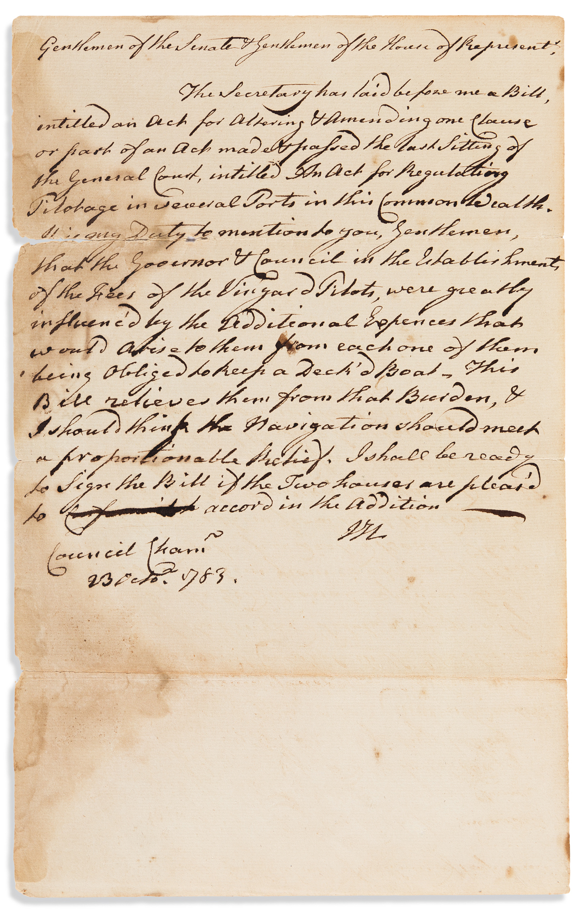 HANCOCK, JOHN. Autograph Letter Signed, JH, as Governor of Massachusetts, to the MA General Court