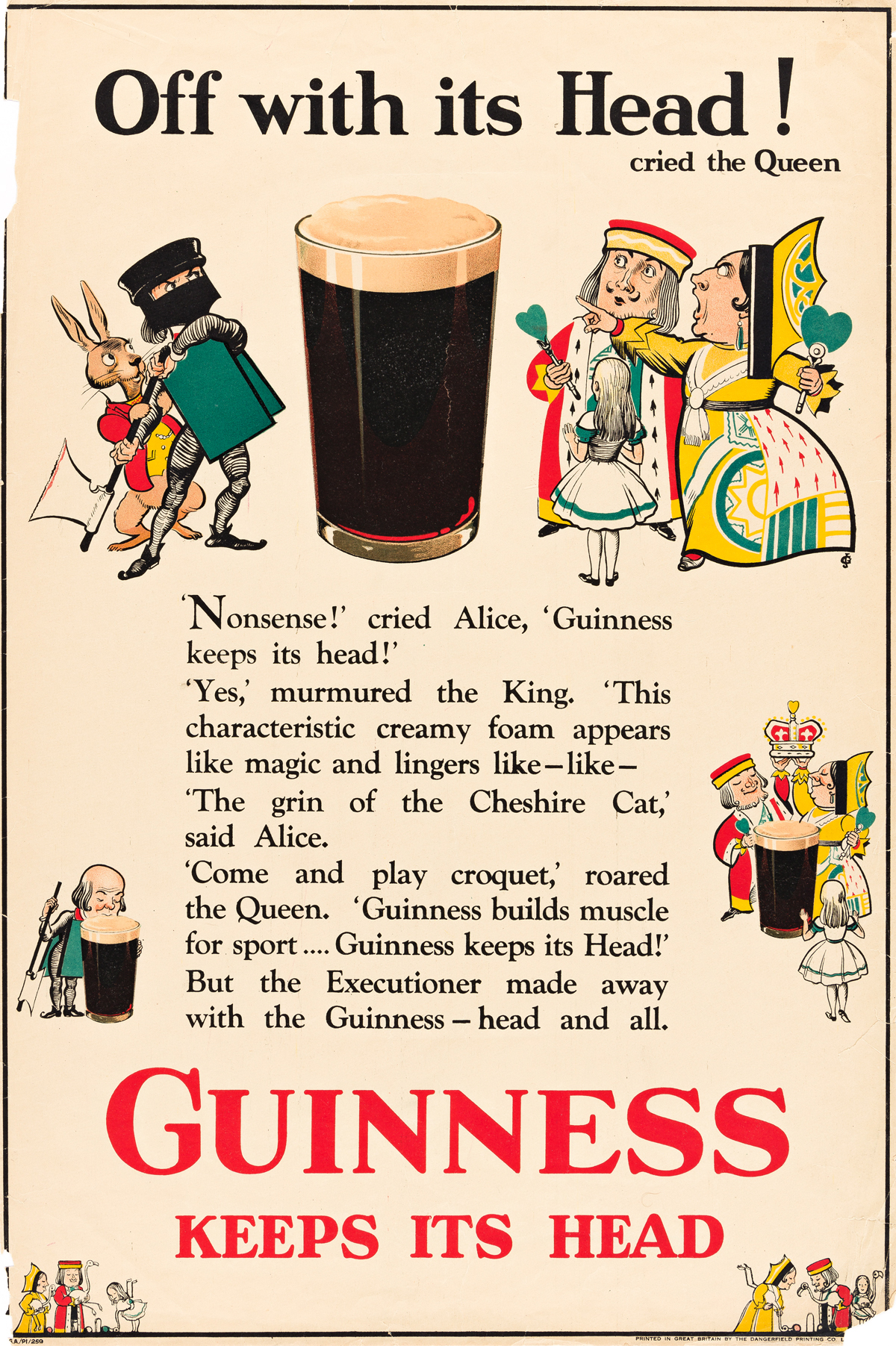 JOHN GILROY (1898-1985).  OFF WITH HIS HEAD! / GUINNESS KEEPS ITS HEAD. 1930. 30x20 inches, 76x50 cm. The Dangerfield Printing Company,
