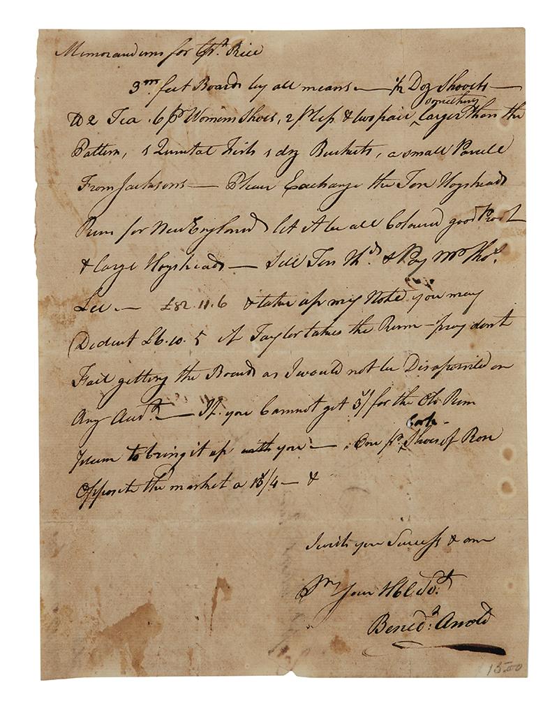 ARNOLD, BENEDICT. Autograph Note Signed, Benedt Arnold, memorandum to Captain Robert Rice